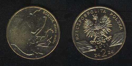 2 злотых 2011 (барсук) Польша