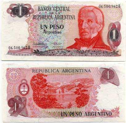 1 песо Сан-Мартин Аргентина (б)