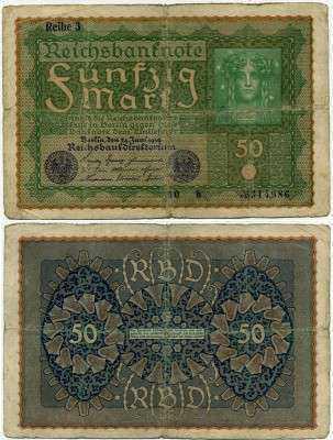 50 марок 1919 (986) Reich 3!!! Германия (б)