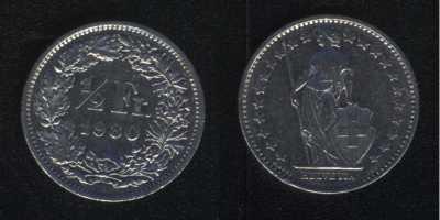 1/2 франка 1980 Швейцария