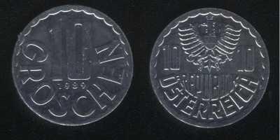 10 грошей 1989 Австрия