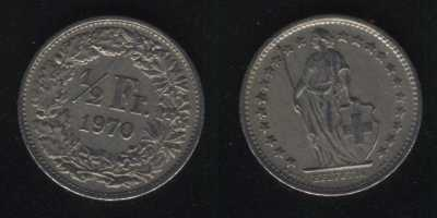 1/2 франка 1970 Швейцария