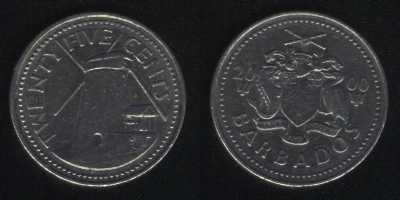 25 центов 2000 Барбадос