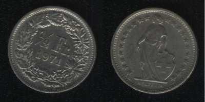 1/2 франка 1971 Швейцария