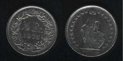 1/2 франка 1975 Швейцария