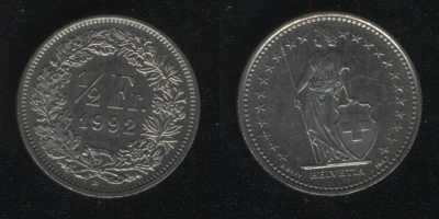 1/2 франка 1992 Швейцария