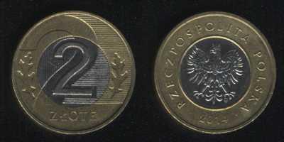 2 злотых 2014 Польша
