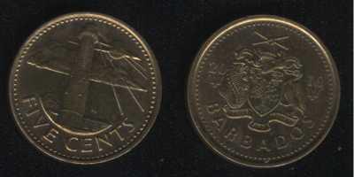 5 центов 2016 Барбадос