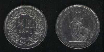 1/2 франка 1991 Швейцария