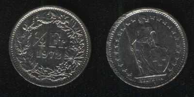 1/2 франка 1972 Швейцария