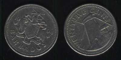 25 центов 1994 Барбадос