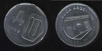 10 аустралей 1989 Аргентина