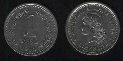 1 песо 1958 Аргентина