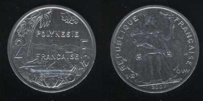 2 франка 2007 французская Полинезия