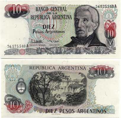 10 песо 1983-84 Аргентина (б)