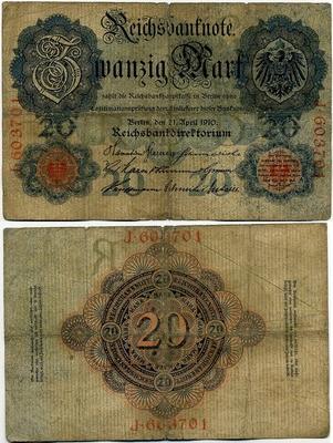 20 марок 1910 (701) 6 цифр! Германия (б)