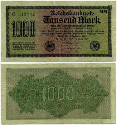 1000 марок 1922 (832) № зеленый Германия (б)