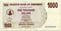 1000 долларов 2007 (309) Зимбабве (б)