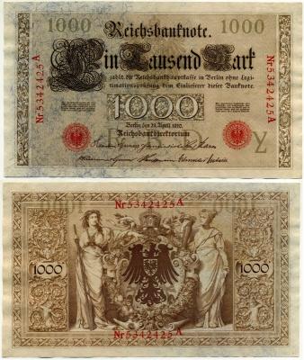 1000 марок 1910 (425) красная печать оборт рыжий Германия (б)