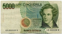 5000 лир 1985 (920) Италия (б)