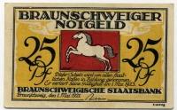 Нотгельд Германия 25 пфенниг 1921 Брауншвейг  (б)