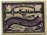 Нотгельд Германия Эрзац банкнота коммунальной кассы 500 млн марок 1923 (373) (б)