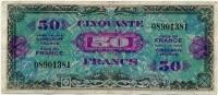 Оккупация союзников 50 франков 1944 Флаг надпись (381) Франция (б)