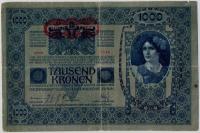 1000 крон 1902 (1236) надпеч. горизонтальная! Австро-Венгрия (б)