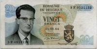 20 франков 1964 (152) Бельгия (б)