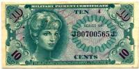 Военный сертификат 10 центов 1965 (565) США (б)