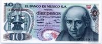 10 песо 1975 красная печать Мексика (б)