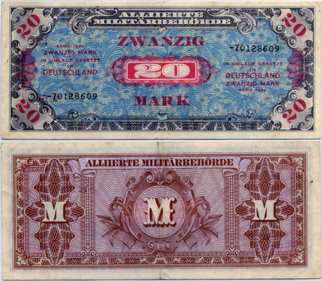 Оккупация зона Советская 20 марок 1944 (609) Германия (б)