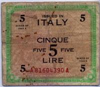 Оккупация 5 лир 1943 2 вар (390) Италия (б)