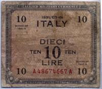Оккупация 10 лир 1943 2 вар (667) Италия (б)
