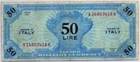 Оккупация 50 лир 1943 1 вар (418) Италия (б)