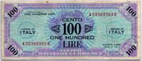Оккупация 100 лир 1943 2 вар АВ! (303) Италия (б)