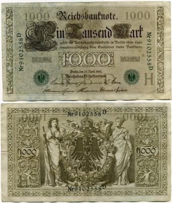 1000 марок 1910 (558) зеленая печать Германия (б)